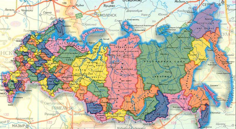Карта россии с городами и дорогами